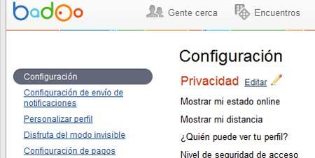 badoo privacidad